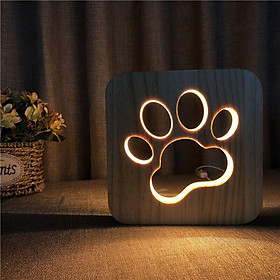 3D USB Bedside Table Lamp Wooden Nightstand Desk Lamp Bedrooms Decor