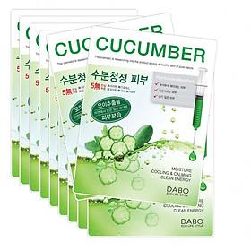 Bộ 10 gói đắp mặt nạ cấp nước hỗ trợ trị khô nẻ da tinh chất dưa leo DABO Hàn quốc ( 22ml/ gói)
