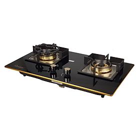 Bếp Gas âm CANAVAL CA-6858 02 lò Công nghệ in gương bo viền vàng 4 cạnh Màu đen - Hàng chính hãng