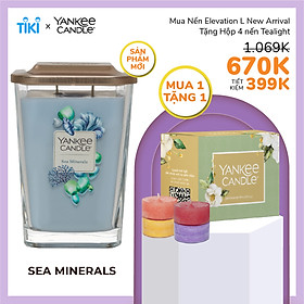 Nến ly vuông Elevation Yankee Candle size L - Sea Minerals (552g)
