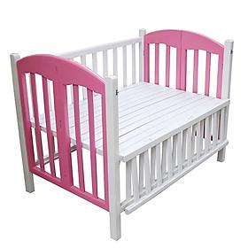 Giường cũi màu trắng hồng cao cấp cho bé - 80x120x90