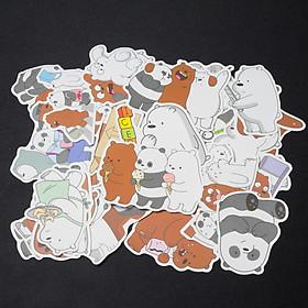Bộ 35 Stickers - We Are Bears trang trí laptop, vali, máy vi tính, đàn, điện thoại, xe máy, xe đạp,... chống nước, lâu phai.