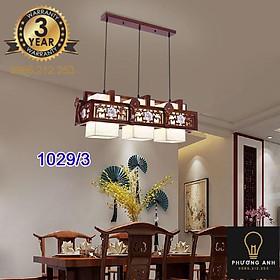 Đèn lồng gỗ thả ba bóng led trang trí nội thất, phòng khách,phòng ăn cổ điển sang trọng mã 1029/3