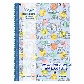 Vở kẻ ngang lò xo Lead - 120 trang; Klong 571 bìa xanh dương