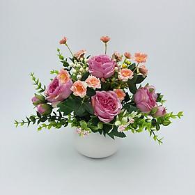 Bình hoa lụa để bàn, hoa giả trang trí phòng khách, bình hoa hồng trà