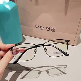 Gọng kính cận/Kính giả cận Mắt vuông Kim loại tăm Hàn Quốc + Tặng Tuavit Kính Xinh mini tiện lợi