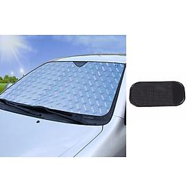 Tấm chắn nắng, chống nắng kính lái ô tô 5 lớp, tráng bạc tặng kèm Miếng giữ điện thoại trên ô tô trống trượt