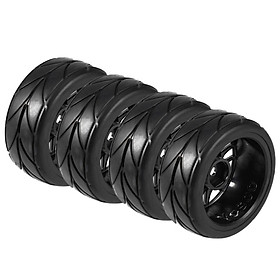4PCS 1/10 Rubber Tire RC Racing Car Tires On Road Wheel Rim Fit For HSP HPI 9068-6081 RC Car Part Diameter 65mm Tires