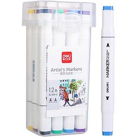 Bút Màu Marker Hai Đầu Cao Cấp Deli 70801