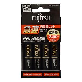Box Sạc Kèm 4 Pin Aa Fujitsu 2450mAh Hỗ Trợ Sạc Nhanh Quick Charge - Hàng Nhập Khẩu