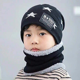 Set Mũ len kèm khăn hình sao có lót lông cho bé