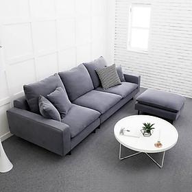 Sofa vải phòng khách 2.4m, vải màu ghi