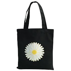 Túi Tote Thời Trang Nữ Vải Bố Canvas Màu Đen Dạng Quai Xách In Hoa Cúc (Daisy) Có Ngăn Phụ Trong – Mẫu Hot Trend