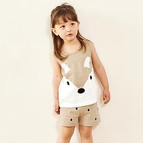 Đồ bộ ba lỗ cotton mặc nhà mùa hè cho bé trai, bé gái Unifriend size 2, 5, 6, 7, 8, 9, 10 tuổi
