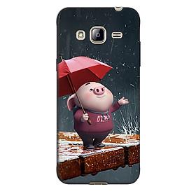 Ốp lưng nhựa cứng nhám dành cho Samsung Galaxy J3 2016 in hình Heo Tắm Mưa
