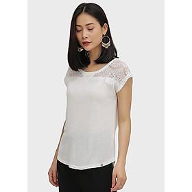 Hình đại diện sản phẩm Áo Cổ Tròn Phối Ren Cotton Brothers màu trắng CB02S181607-WH