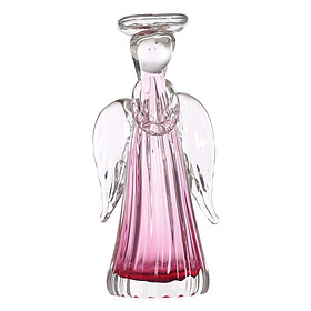 Tooarts Angel Candleholder Gift Glass Ornament Handblown Home Decor White & Pink
