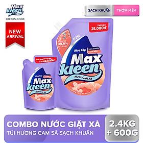 Combo Nước giặt xả Maxkleen Hương Cam sả: 1 Túi 2.4kg + 1 Túi 600g