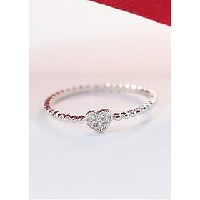 Nhẫn bạc nữ đẹp hình trái tim đính đá tinh tế NN0216