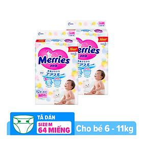 Combo 2 Tã/bỉm dán Merries size M - 64 miếng (Cho bé 6 - 11kg)