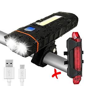 COMBO Đèn Xe Đạp HJ048 Kiêm Sạc Dự Phòng | Pin 4000 mAh Led Siêu Sáng Và Đèn Hậu Sạc USB BS216