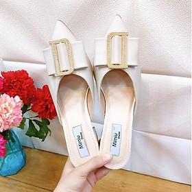 Giày sục cao gót nữđế vuông, mũi nhọn, giày cao gót thời trang chuẩn size 35-40 màu đen và kem, gót cao 5p