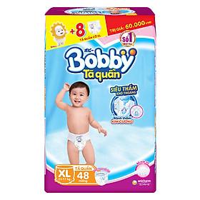 Tã Quần Bobby Gói Siêu Lớn XL48 (48 Miếng) + 8 Miếng Cùng Size