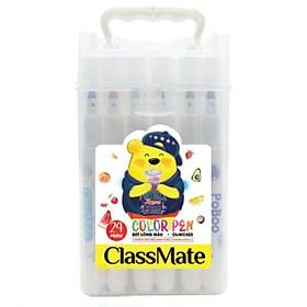 Hộp màu dạ bút lông màu 24 màu CL-WC423 tặng kèm 1 tập sticker mặt cười ( hình ngẫu nhiên)