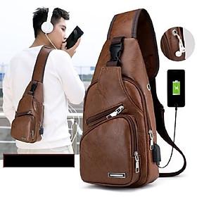 Túi đeo chéo nam da xịn cao cấp có cổng sạc điện thoại cắm tai nghe chống nước