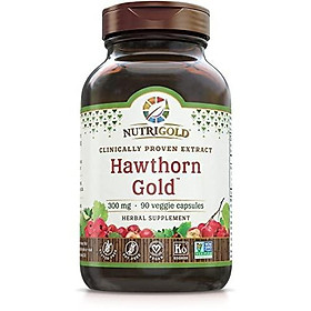 Nutrigold Hawthorn Gold (Clinically-Proven Extract), 300 Mg, 90 Veggie Capsules