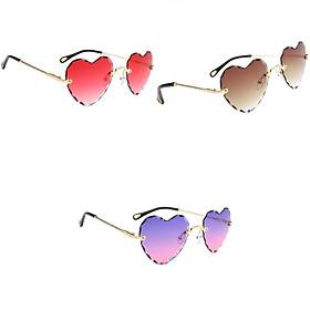 3x Women Gradient Rimless Heart Shape Ultralight Fashion UV400 Sun Glasses