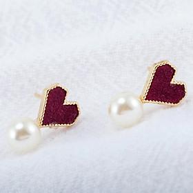Khuyên tai đính đá TRÁI TIM GẮN NGỌC bông tai nữ phong cách Hàn Quốc