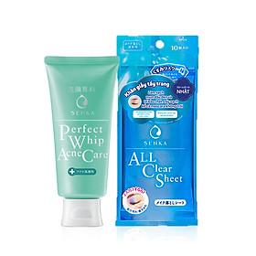 Bộ sản phẩm Senka làm sạch da trị mụn tiện lợi (Sữa rửa mặt trị mụn Senka Perfect Whip Acne Care 100g + Khăn giấy tẩy trang 10 miếng Senka Cleansing Sheet)