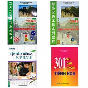 Combo Sách Học Tiếng Trung: Giáo Trình Hán Ngữ 1, 2 + Tập Viết Chữ Hán + 301 Câu Đàm Thoại Tiếng Hoa (Bộ 4 cuốn/ Tặng kèm bookmark Happy Life)