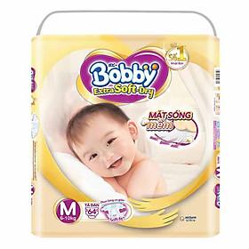 Tã Dán Siêu Mềm Bobby Extra Soft Dry Gói Siêu Lớn M64 Miếng (6-10kg)