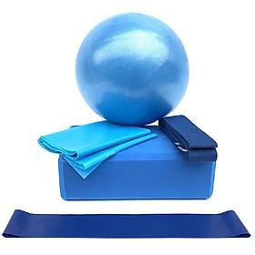 5pcs Yoga Equipment Set Include Yoga Ball Yoga Blocks Stretching Strap Resistance Loop Band Exercise Band