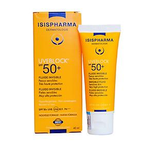 Kem chống nắng không màu, dành cho da nhạy cảm Uveblock SPF50 Invisible Fluid - Isis Pharma (40ml)