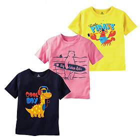 Combo 3 áo thun bé trai thương hiệu TAMOD in hình dễ thương