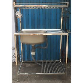Bồn rửa chén + kệ để chén di động (2 tầng)