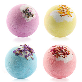 4pcs Bath Salt Balls Body Cleaner Multi-color Spa Essential Oils Bath Bomb Kit Fizzy to Moisturizing Dry Skin Aromatic
