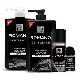 Combo Romano Gentleman : Dầu gội 650g, sữa tắm 650g, xịt khử mùi 150ml+ Tặng kèm lăn khử mùi 40ml