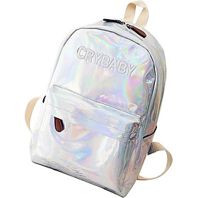 Fashion New Women Laser Cry Baby Backpack Holographic Bookbag Tote white