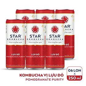 Lốc 6 lon thức uống lên men STAR KOMBUCHA Lựu đỏ / Pomegranate Purity (250ml/lon)
