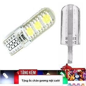 Đèn LED Xi nhan Silicon 6 Led T10 cho xe máy A233-KOC2 - Tặng kèm ốc chân gương mặt cười
