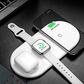Đế sạc không dây 3 in 1 hỗ trợ sạc nhanh 18W cho Appe Watch 1 / 2 / 3 / 4 / Apple Airpods / Airpods Pro / điện thoại hiệu Baseus Dual Smart Wireless Charging - Hàng nhập khẩu