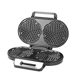 Waffle Iron 1200 W for Double Heart Waffles, Heart Waffle Iron with Double Waffle Plate, Continuous Temperature Control,