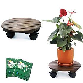Bộ 2 Đế lót chậu cây-Đĩa lót chậu hoa-Greenhome_Có bánh xe (Tròn-Đen)-chịu lực 80Kg-Kích thước R30xC8cm-TẶNG HAI GÓI DƯỠNG HOA TƯƠI LÂU