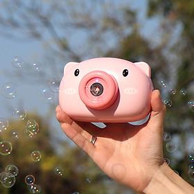 Đồ chơi xinh xắn, đồ chơi ngộ nghĩnh dễ thương máy ảnh thổi bong bóng, có nhạc hình chú heo hồng đáng yêu cho bé