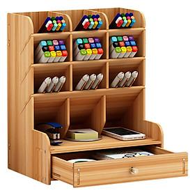Giá kệ gỗ cắm bút B11 đựng đồ dụng học tập và văn phòng phẩm để bàn cho học sinh có nhiều ngăn giao màu ngẫu nhiên