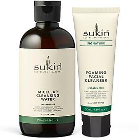 Bộ Đôi Làm Sạch Da Sukin Signature Nước Tẩy Trang Micellar Cleansing Water 250ml & Sữa Rửa Mặt Tạo Bọt Foaming Facial Cleanser 50ml